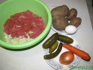 мясной рулет с фаршированным картофелем