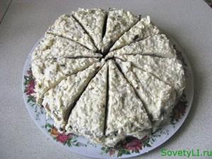 Печеночный торт с грибами
